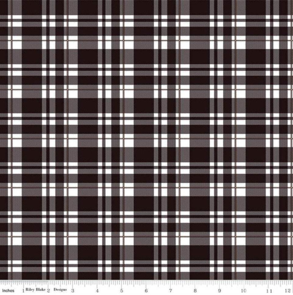 Glam Girl Plaid Black with thin stripes of Rose Gold Sparkle designed by Dani Mogstad for Riley Blake Designs SC8637-Black