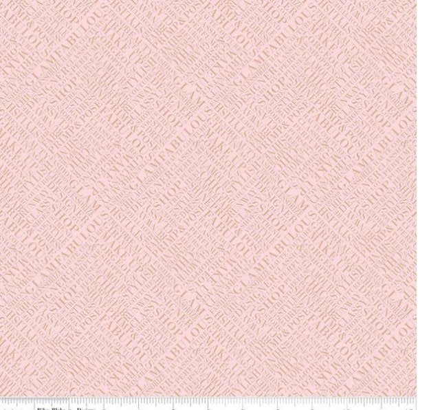 Glam Girl Words Pink with Rose Gold Sparkle designed by Dani Mogstad for Riley Blake Designs SC8632-PINK