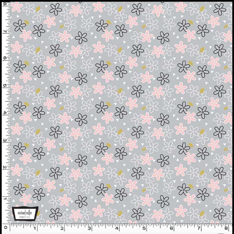 Glitter Daisy designed by Sandra Clemons for Michael Miller Fabrics gray floral fabric
