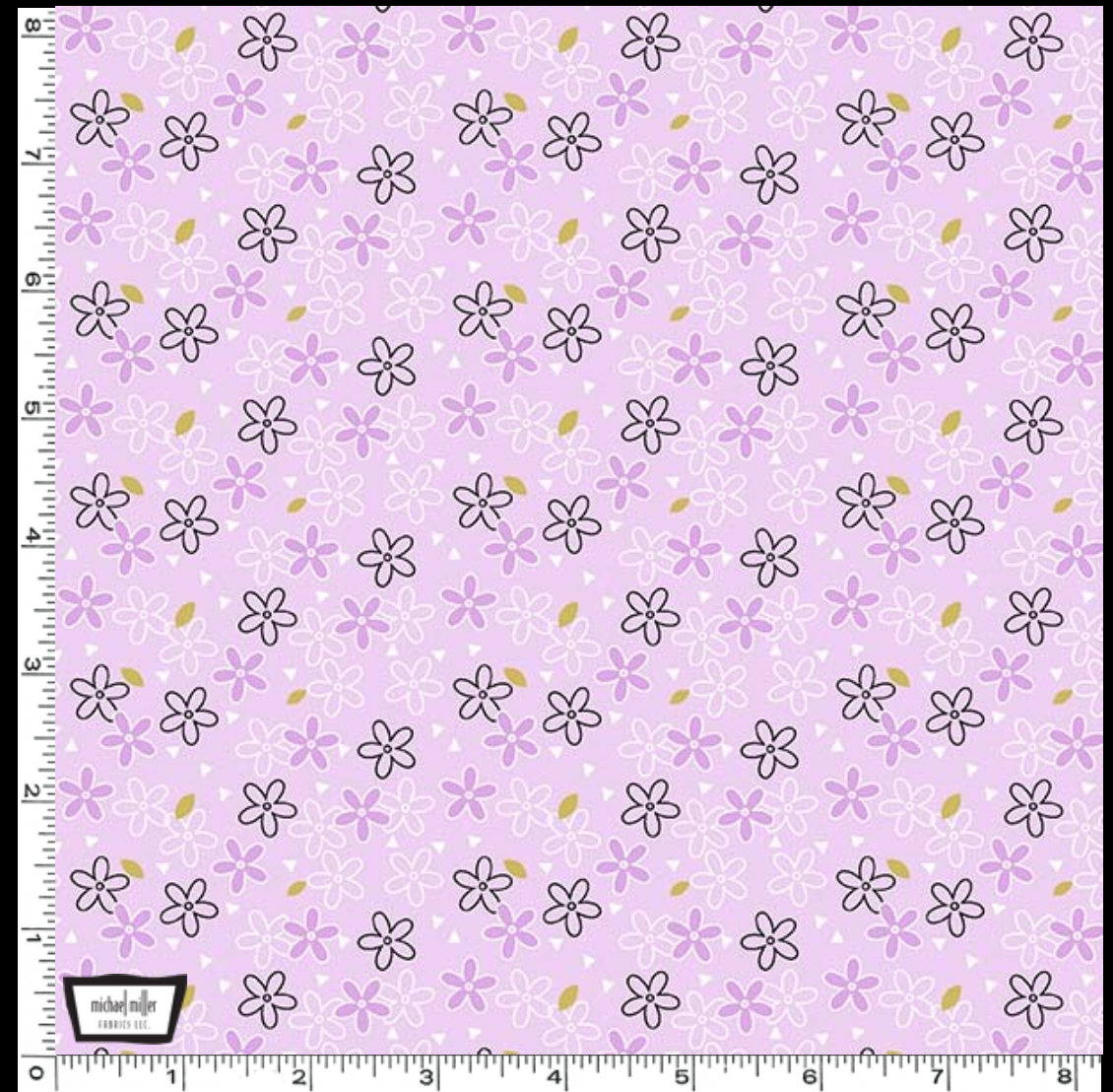 Glitter Daisy designed by Sandra Clemons for Michael Miller Fabrics lavender floral fabric