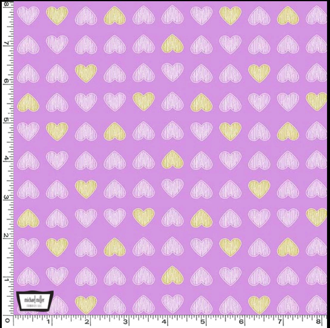 Heart of Gold designed by Sandra Clemons for Michael Miller Fabrics lavender floral fabric