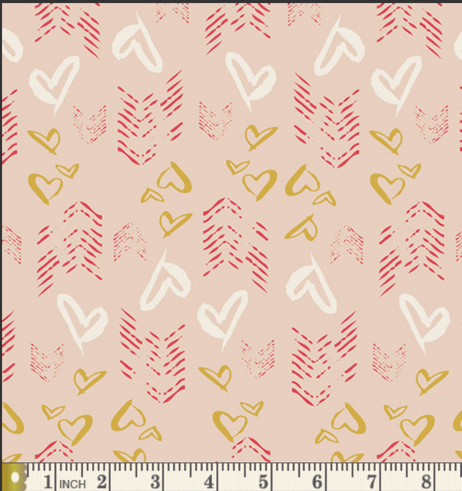 Hearts Fletching Gold  fabric from the Love Story collection designed by Maureen Cracknell for AGF