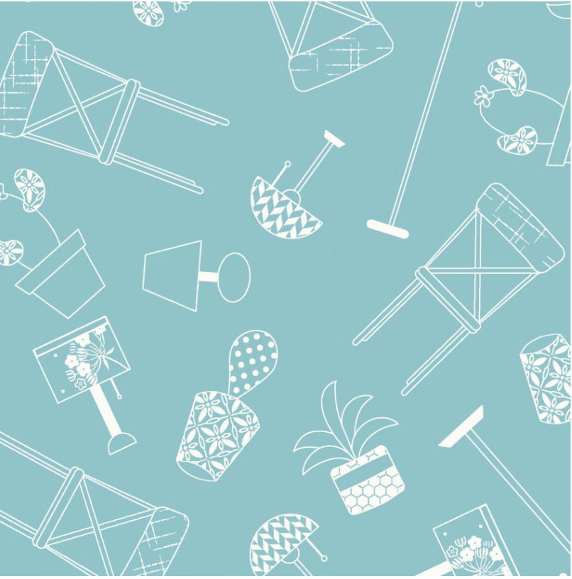 Home Furnishings blue from the Make Yourself at Home fabric collection designed by Kim Christopherson for Maywood Studios MAS9393-B