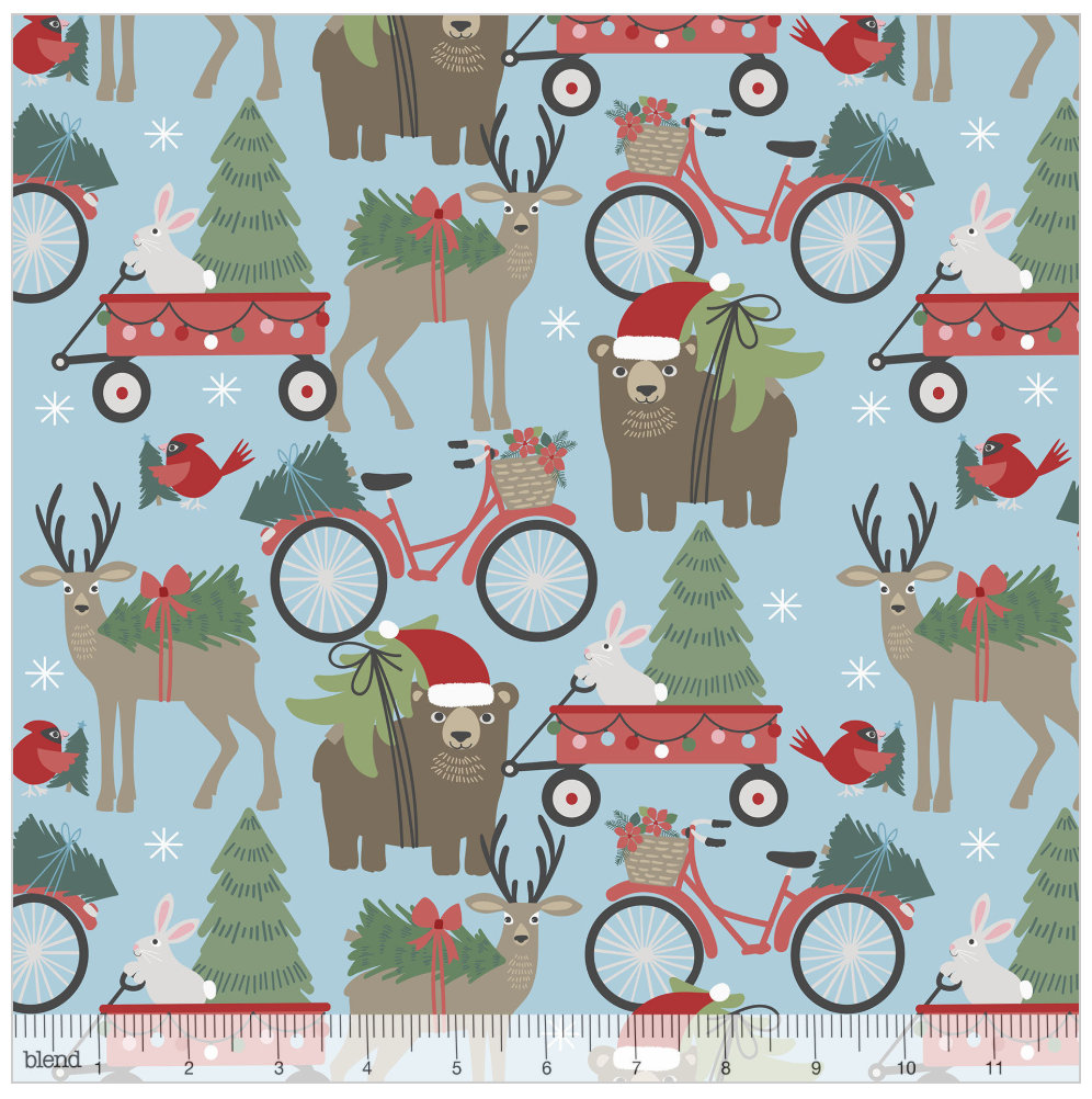 Hustle and Bustle Light Blue from the Baubles & Boughs Collection designed by Maude Asbury for Blend Fabrics Bears Reindeer Christmas
