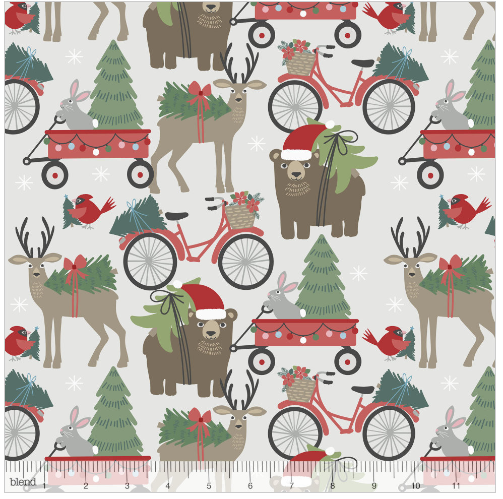 Hustle and Bustle Light Grey from the Baubles & Boughs Collection designed by Maude Asbury for Blend Fabrics Bears Reindeer Christmas