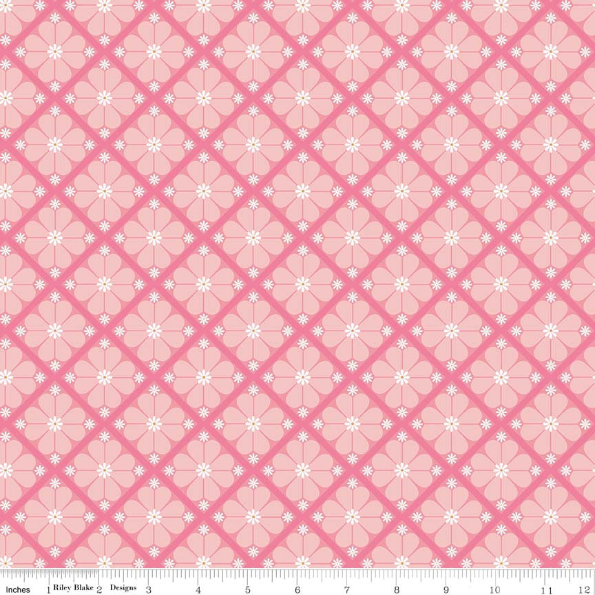 In The Meadow Lattice Pink designed by Keera Job for Riley Blake Design floral fabric yardage C7992-PINK