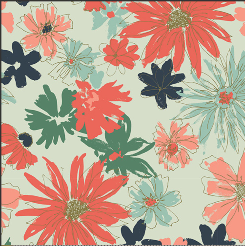 Ink Outburst Woodlands designed by Sharon Holland for Art Gallery Fabrics Boho Fabric Floral Fabric