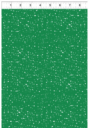 Joy Peace and Love designed by Jennifer Heynen for In The Beginning Fabrics Green background with White Snow  Yardage