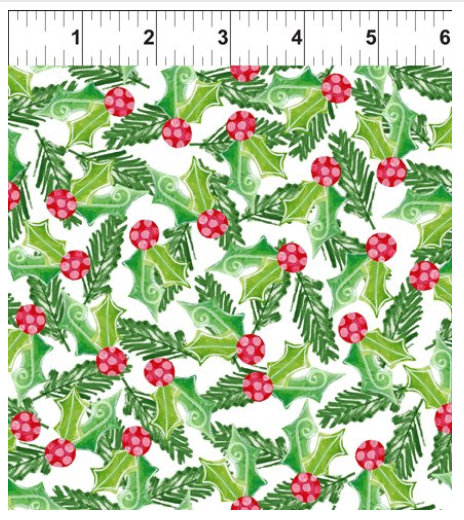 Joy Peace and Love designed by Jennifer Heynen for In The Beginning Fabrics Holly and Berries on White background Yardage Christmas