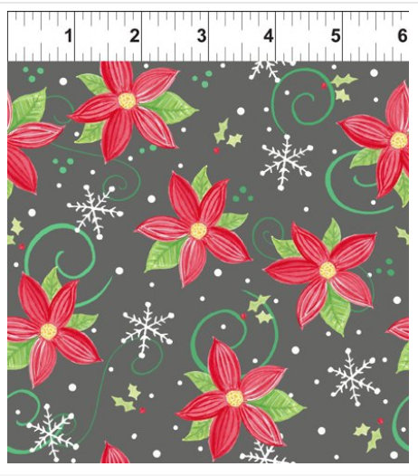 Joy Peace and Love designed by Jennifer Heynen for In The Beginning Fabrics Poinsettias on Gray  background Yardage Christmas floral