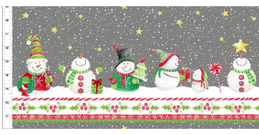 Joy Peace and Love designed by Jennifer Heynen for In The Beginning Fabrics Snowman Border Yardage Christmas floral