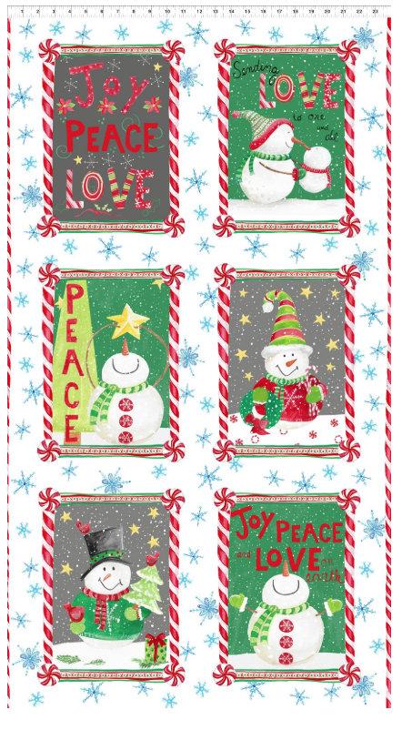 Joy Peace and Love designed by Jennifer Heynen for In The Beginning Fabrics Snowman Panel