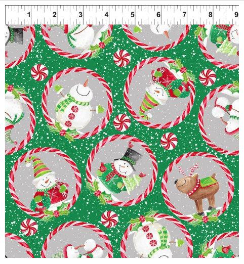 Joy Peace and Love designed by Jennifer Heynen for In The Beginning Fabrics Snowmen on Green background Reindeer Yardage