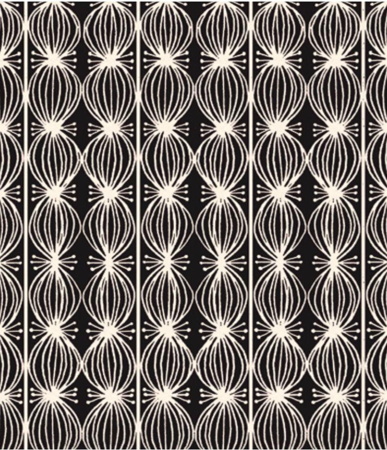 Love Is Spoken Here Love Buds Black designed by Cori Dantini for Blend Fabrics (112.121.06.1) black on cream  geometric