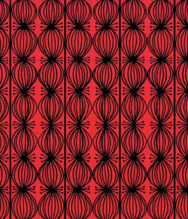Love Is Spoken Here Love Buds Red designed by Cori Dantini for Blend Fabrics (112.121.06.1) red and black  geometric