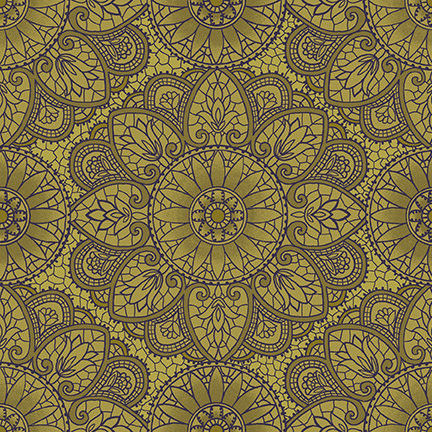 Mandala from the Sage and Sea Glass Fabric Collection designed by Kim Diehl for Henry Glass Fabrics HEG1536-66 green geometric