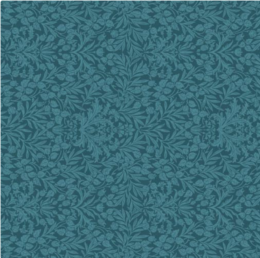 Memoire a Paris Quilt Fabric - Floral Damask in Teal - 820817-60 Japanese Fabric