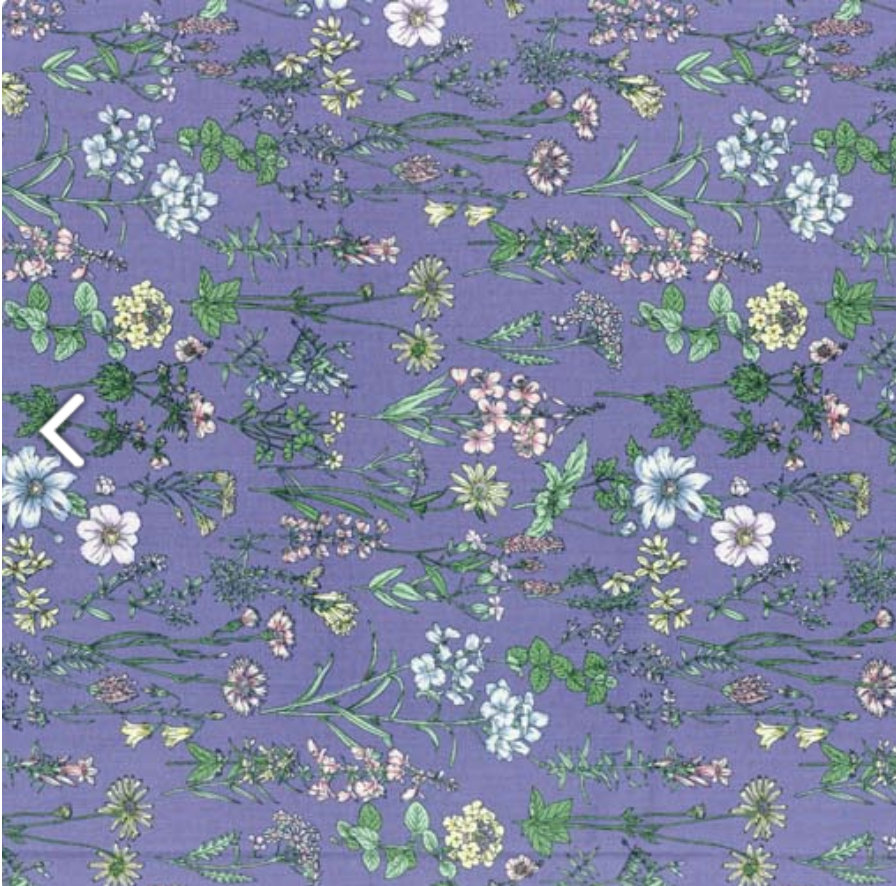 Memoire a Paris Quilt Fabric - Floral Plants on Purple - 820816-110 Japanese Fabric