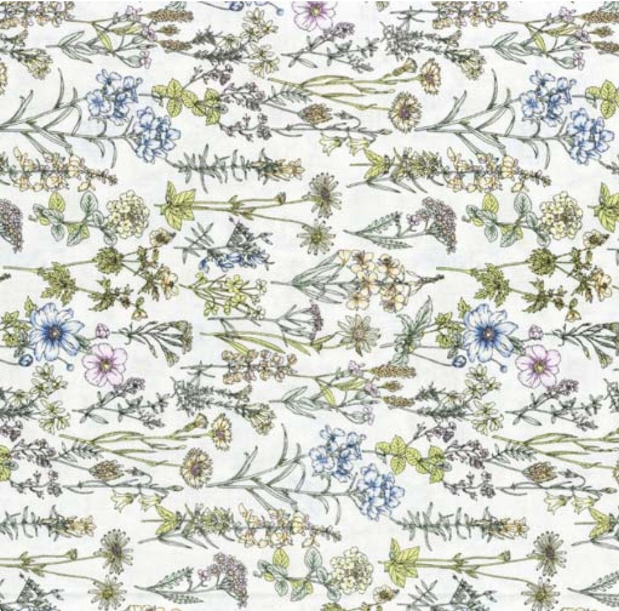Memoire a Paris Quilt Fabric - Floral Plants on White - 820816-10 Japanese Fabric