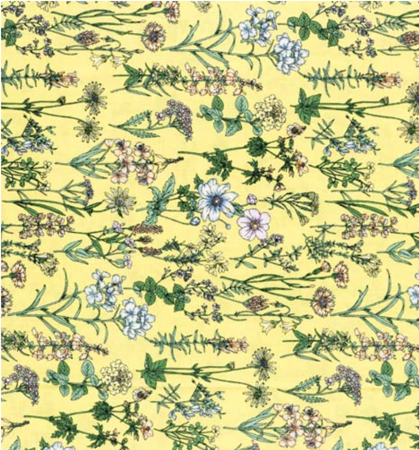 Memoire a Paris Quilt Fabric - Floral Plants on Yellow - 820816-50 Japanese Fabric