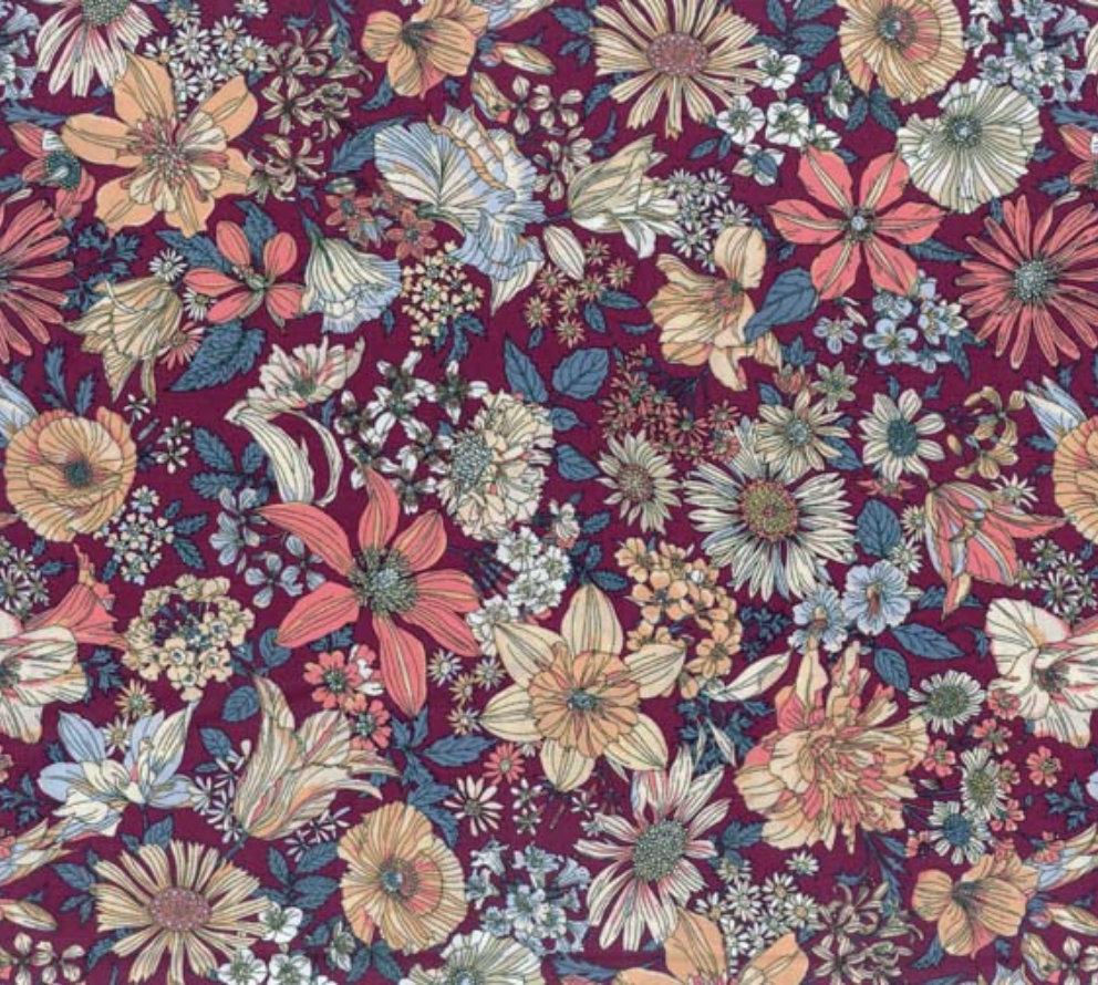 Memoire a Paris Quilt Fabric - Large Floral on Burgundy - 820814-110 Japanese Fabric