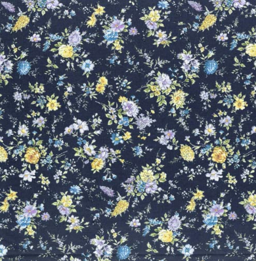 Memoire a Paris Quilt Fabric - Small Floral on Dark Blue - 820815-70 Japanese Fabric