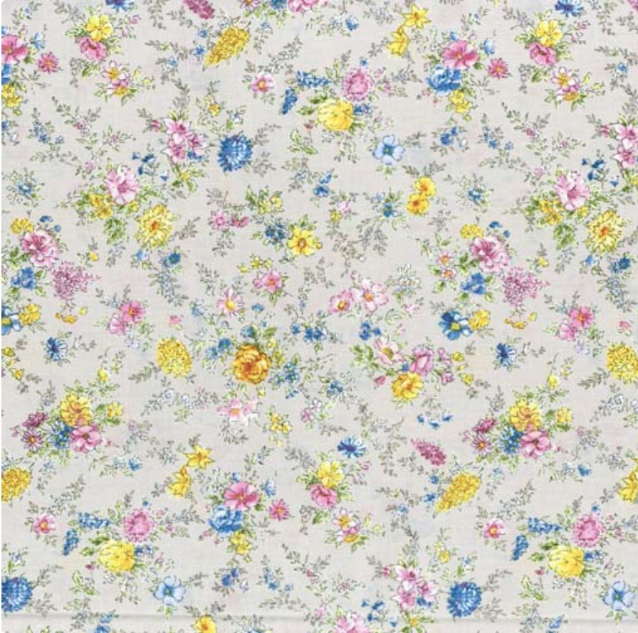Memoire a Paris Quilt Fabric - Small Floral on Light Tan - 820815-90 Japanese Fabric