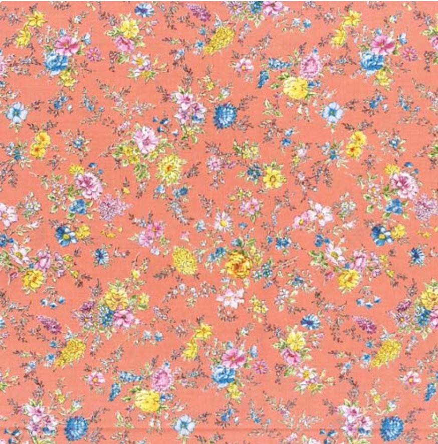 Memoire a Paris Quilt Fabric - Small Floral on Salmon Pink- 820815-40 Japanese Fabric