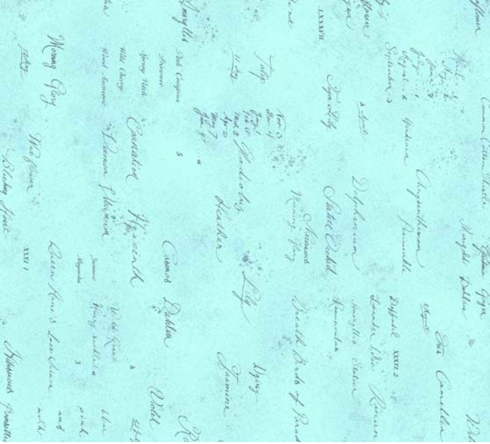 Memoire a Paris Quilt Fabric - Text in Light Blue - 820819-70 Japanese Fabric