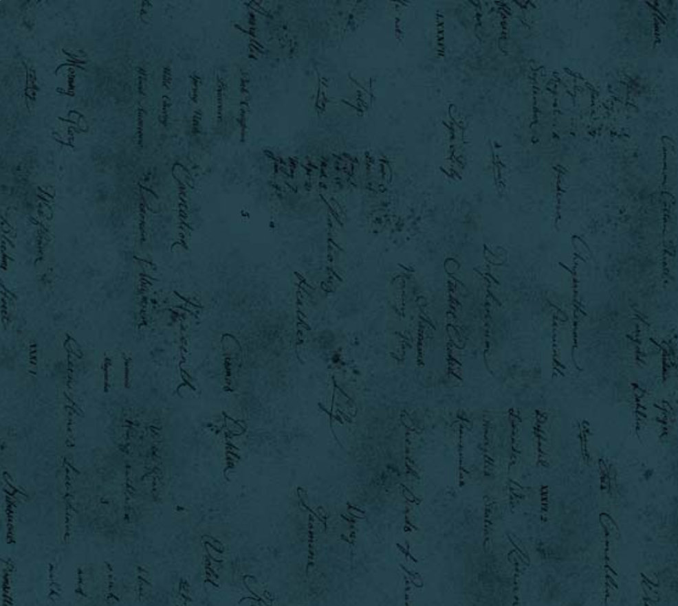 Memoire a Paris Quilt Fabric - Text in Teal - 820819-77 Japanese Fabric