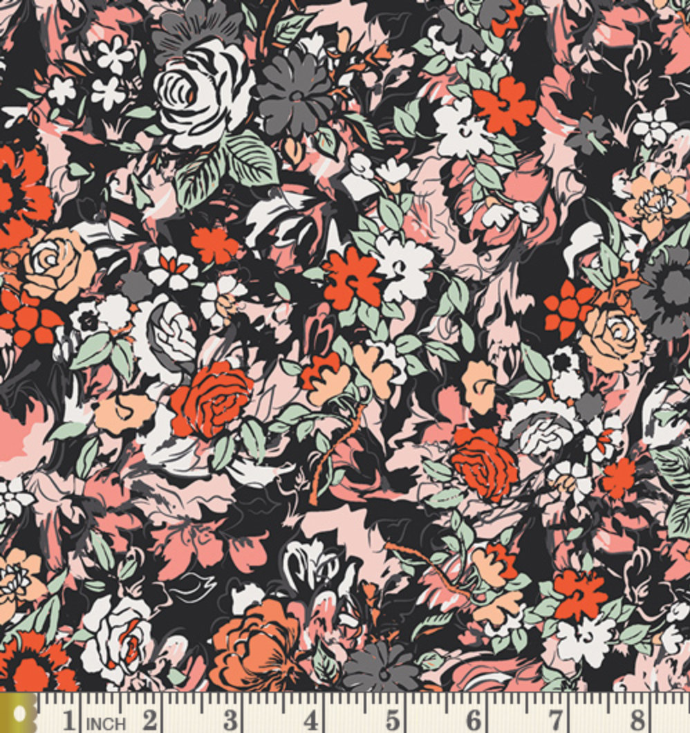 Millefiori Silkroad FUS-SR-1708 from the Silk Road fabric collection for AGF floral black red roses