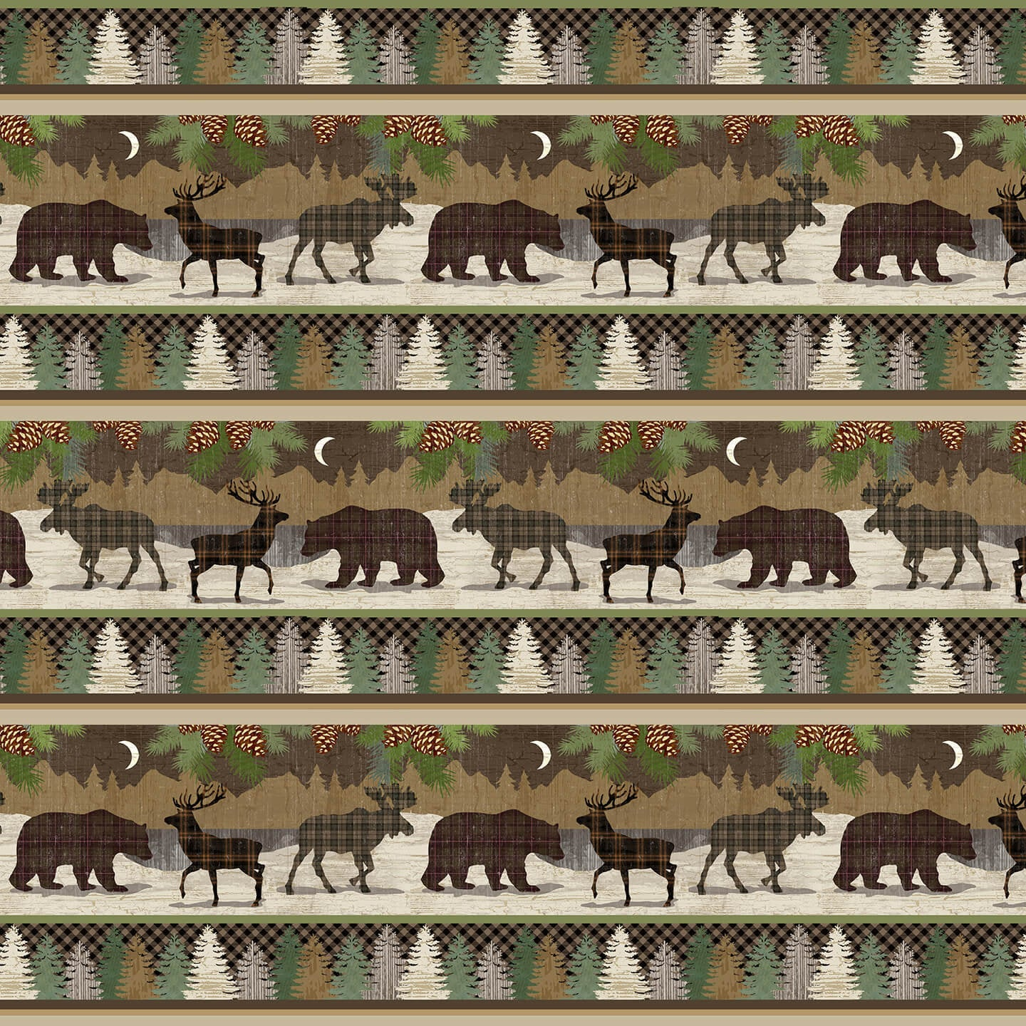 Novelty Stripe Animals Multi Q-1692-33 Twilight Lake Collection from Henry Glass Fabrics.  Outdoor Lake Forest