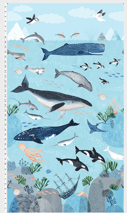 Oceans Away Collection Panel Y2927-97 designed by Rebecca Jones for Clothworks whales ocean