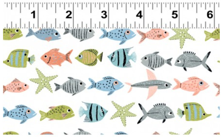 Oceans Away Collection Y2930-1 designed by Rebecca Jones for Clothworks fish ocean white