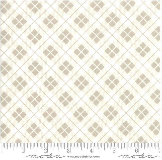 Orchard Picnic Basket Stone designed by April Rosenthal for Moda Fabrics plaid 24075-18