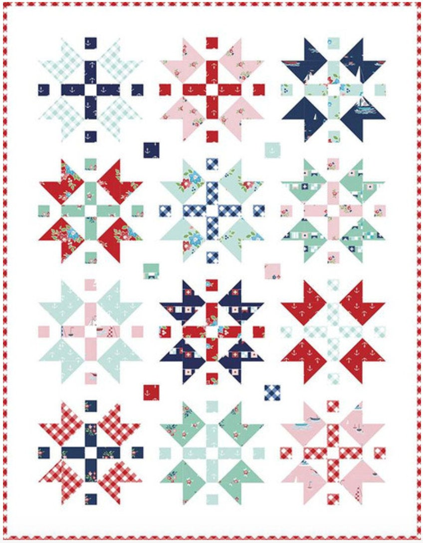 Seaside Stars Quilt Pattern by Tasha Noel Fat Quarter friendly #510