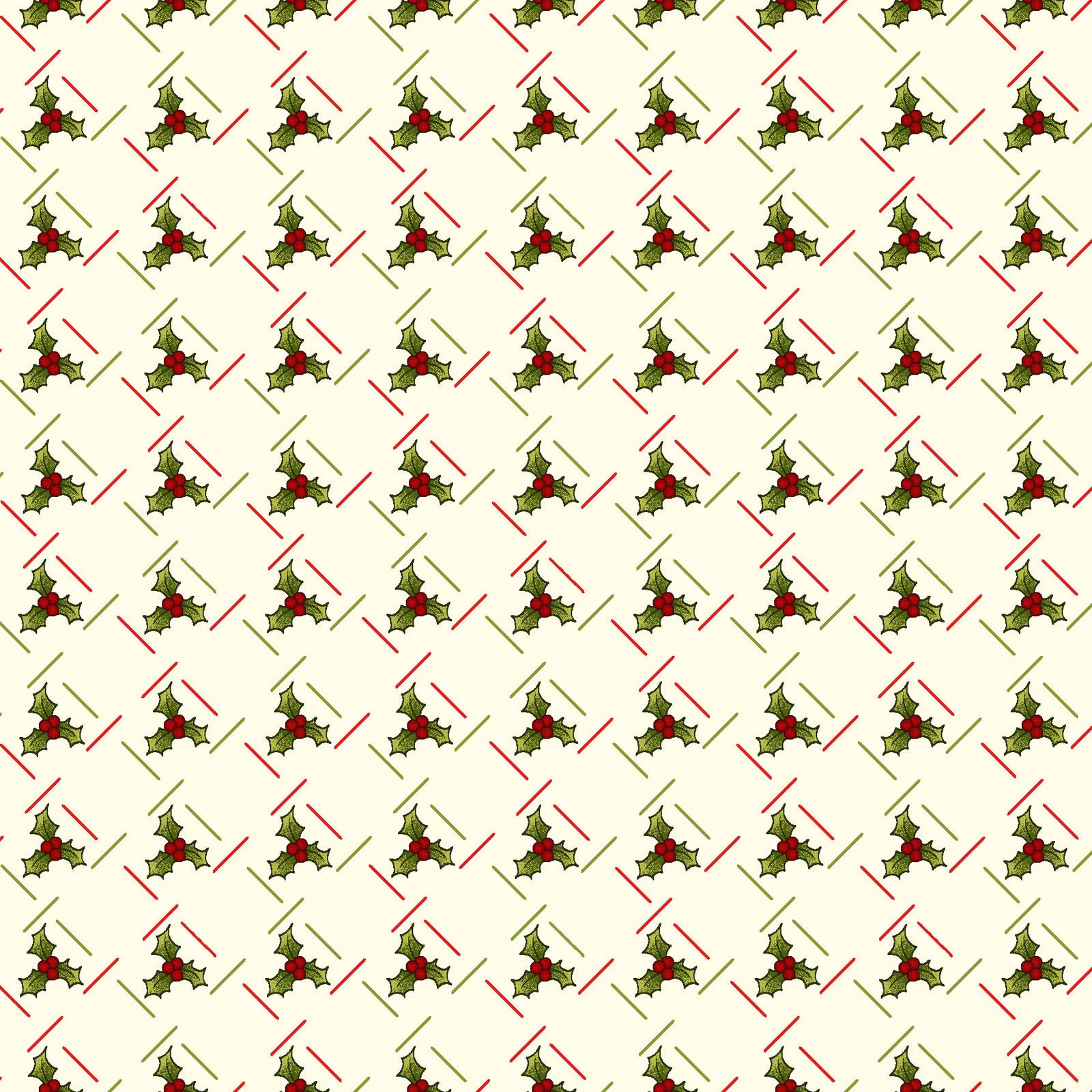 Small Holly cream from Ring in The Holly Days collection by Mary Jane Carey for Henry Glass Fabrics Christmas Holidays Festive