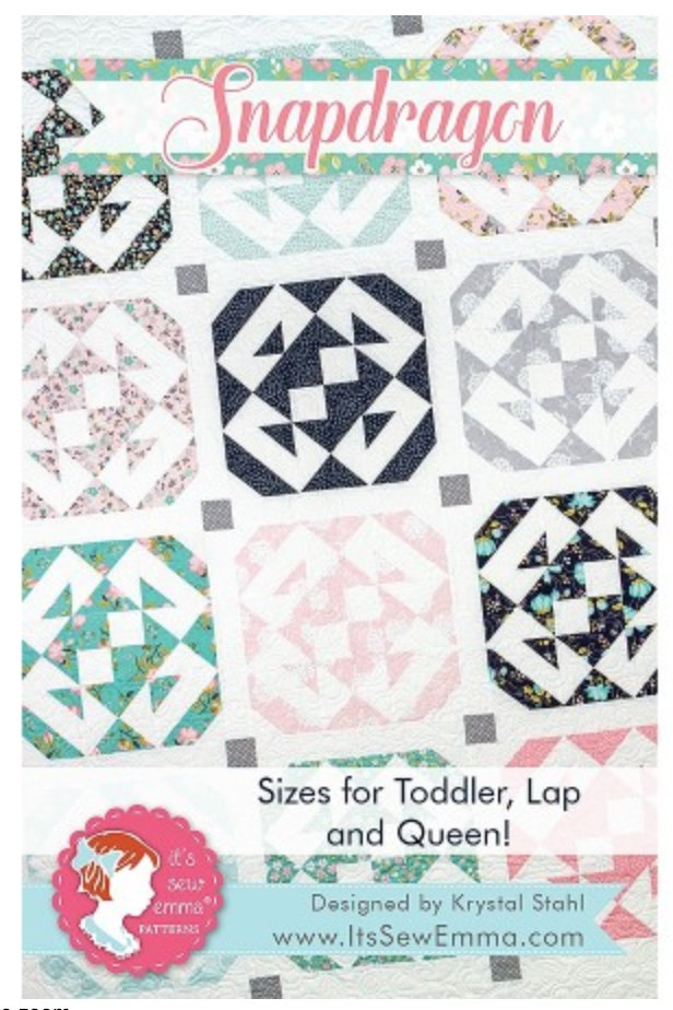 Snapdragon quilt pattern designed by Krystal Stahl for Its Sew Emma Patterns toddler lap queen sizes