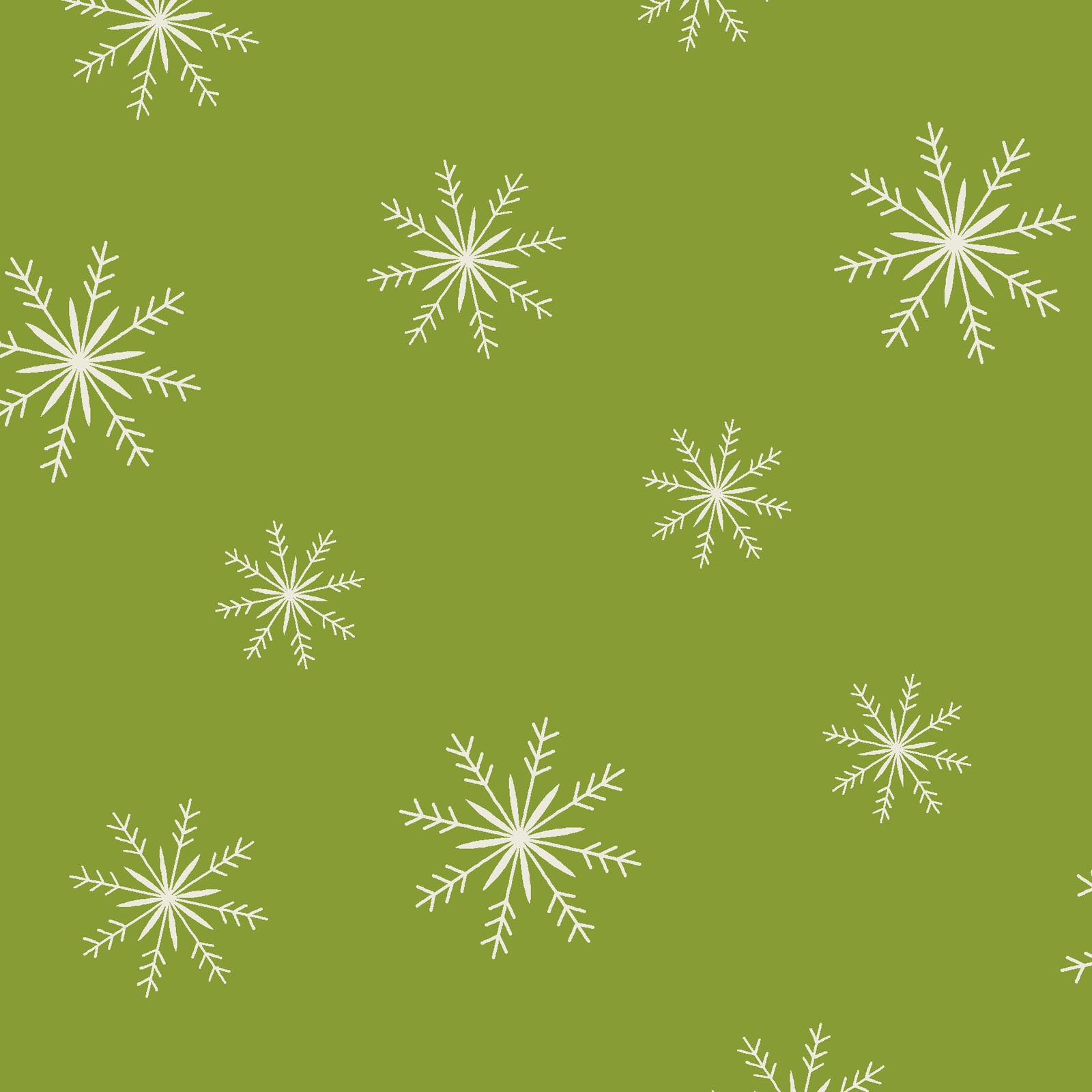 Snowflakes Toss green  from Ring in The Holly Days collection by Mary Jane Carey for Henry Glass Fabrics Christmas Holidays Festive