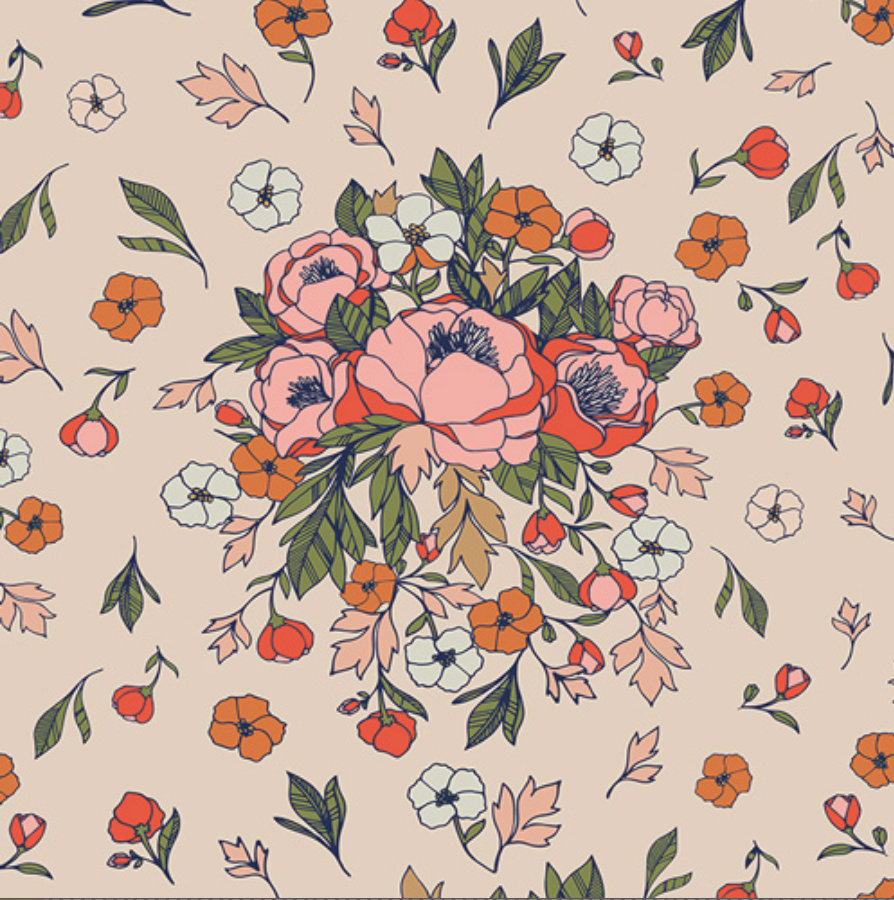 Soulmate Blooms Flirt fabric from the Love Story collection designed by Maureen Cracknell for AGF Floral Fabric
