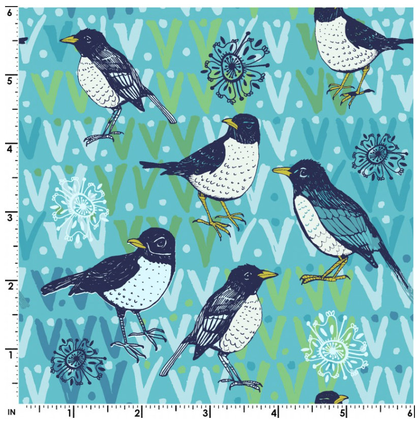 Spring Robins Aqua Y2371-33 designed by Teresa Magnuson for Clothworks spring fabric