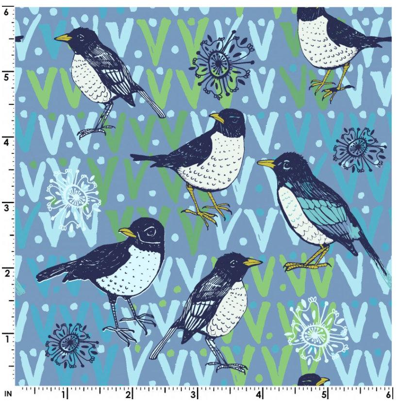 Spring Robins Denim Y2371-88 designed by Teresa Magnuson for Clothworks spring fabric