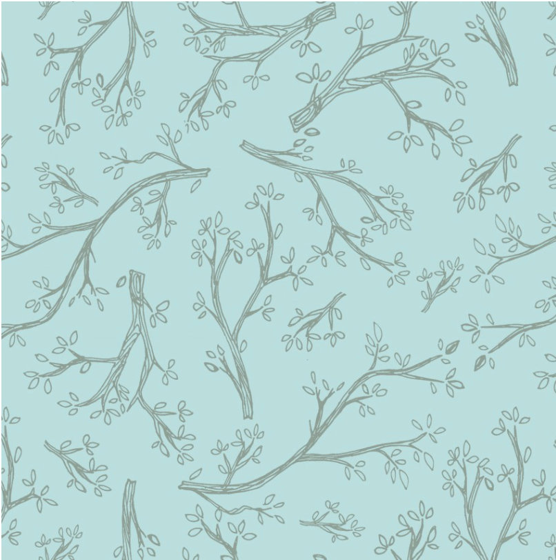 Spring Robins Light Sky Y2375-97 designed by Teresa Magnuson for Clothworks spring fabric branches and leaves olive