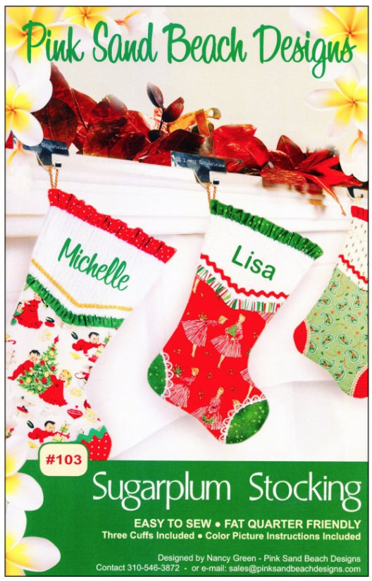 Sugarplum Stocking Pattern by Pink Sand Beach Designs.  Full color pictures in directions.  Easy