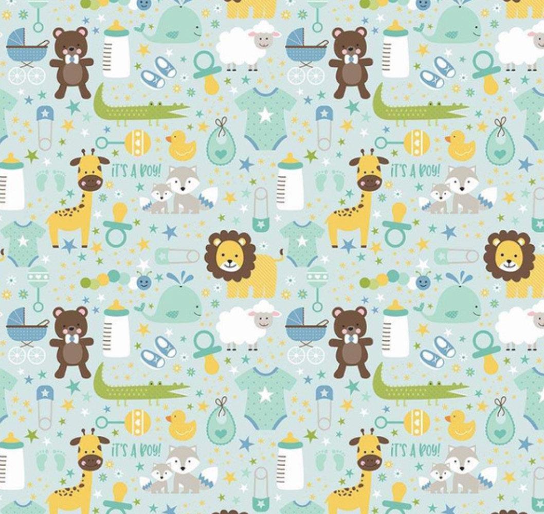 Sweet Baby Boy Main Light Blue designed by Lori Whitlock for Riley Blake Designs nursery toddler fabric
