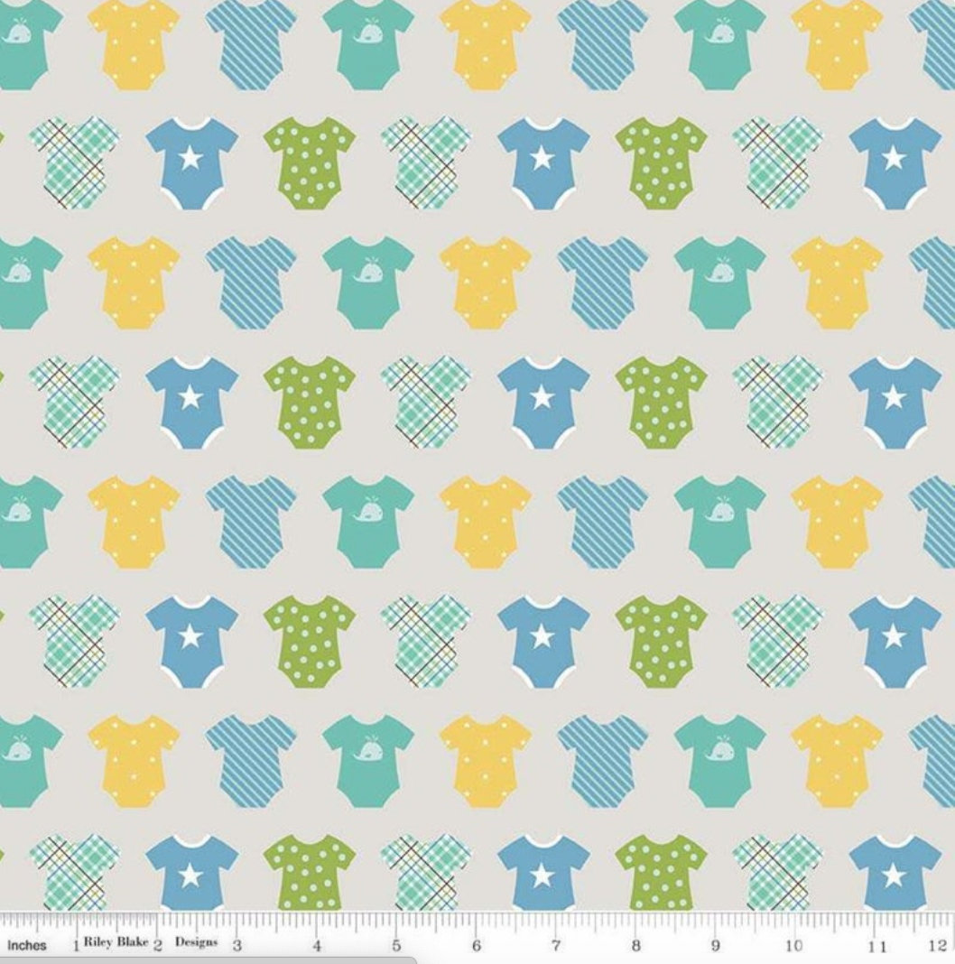 Sweet Baby Boy Onsies grey  designed by Lori Whitlock for Riley Blake Designs nursery toddler fabric C7852-Gray