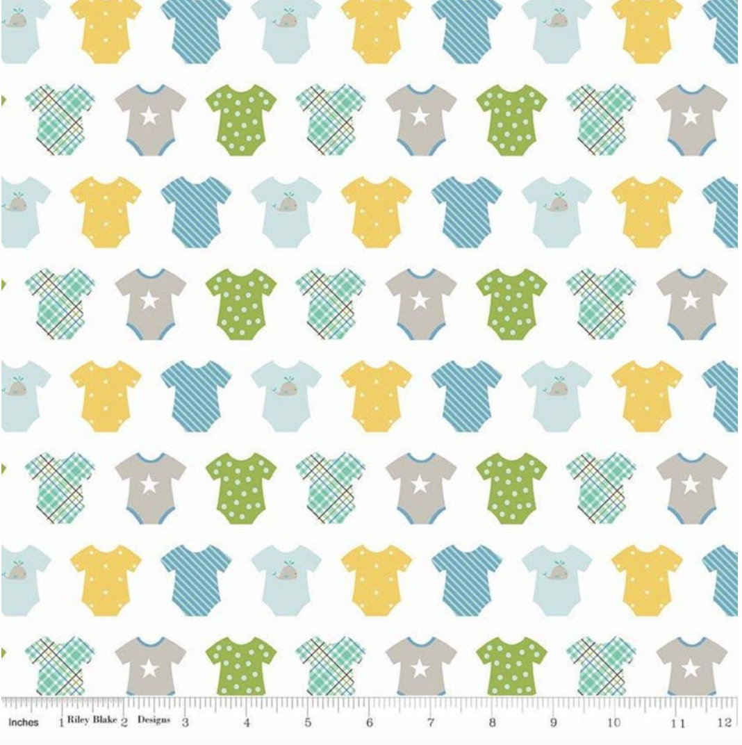 Sweet Baby Boy Onsies White  designed by Lori Whitlock for Riley Blake Designs nursery toddler fabric C7852-White