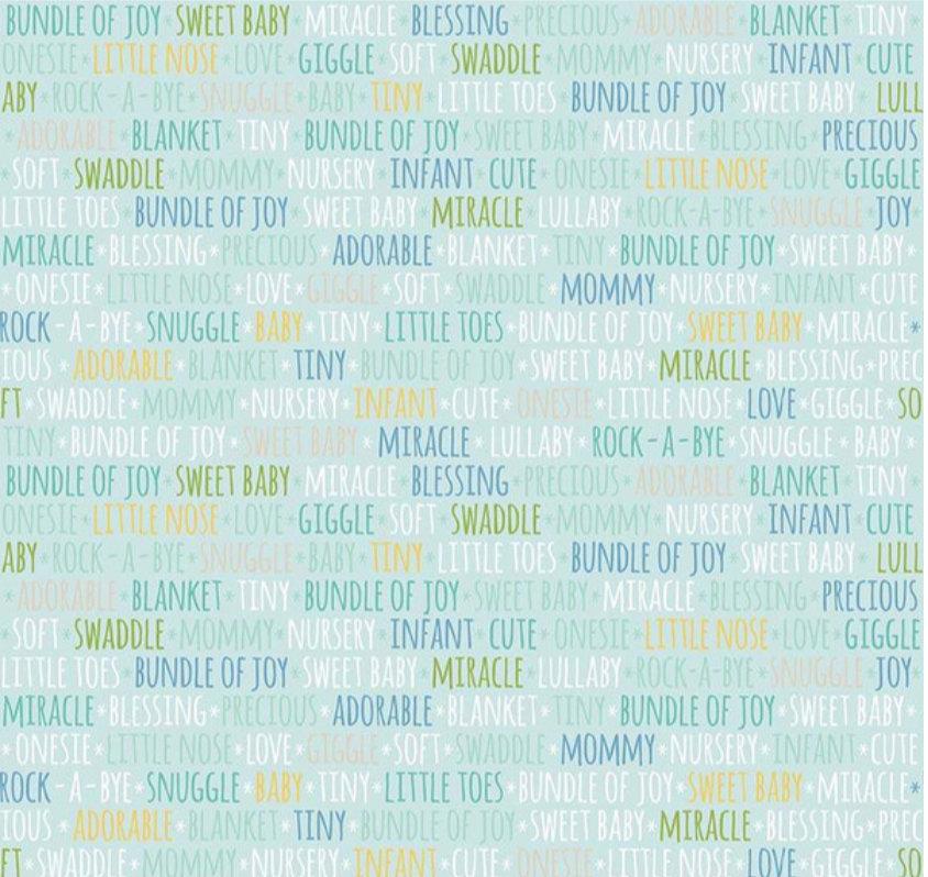 Sweet Baby Boy Words Light Blue designed by Lori Whitlock for Riley Blake Designs nursery toddler fabric C7854-LTBLUE