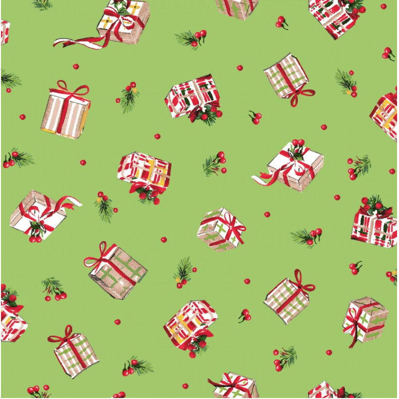 Tiny Gifts Green  from the All the Trimmings collection by Maywood Studio MAS9374-G  Holiday - Christmas Novelty yardage
