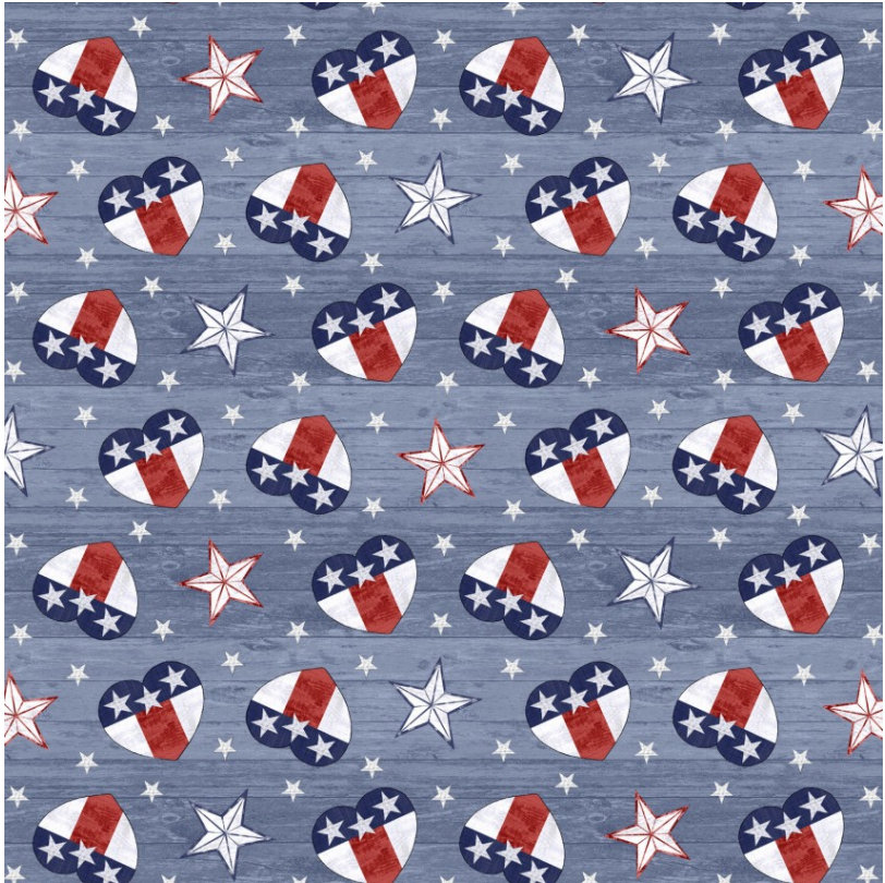 Tossed Hearts from the Live Free Collection designed by Jessica Mundo for Henry Glass Fabrics Patriotic Hearts HEG9181-78